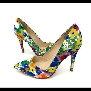 Guess Heel Pointy Toe Floral Sz 7 Fabric Spring